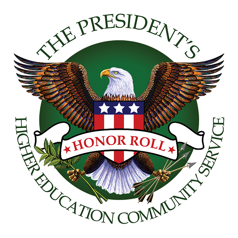 Seal with an eagle with the words President's Higher Education Community Service Honor Roll.