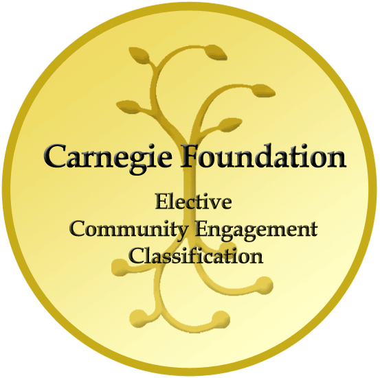 A round yellow seal that says Carnegie Foundation Elective Community Engagement Classification.