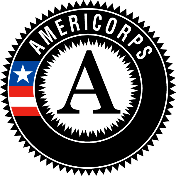 A black circle with the letter A in the middle, the word Americorps, and a red white and blue flag.